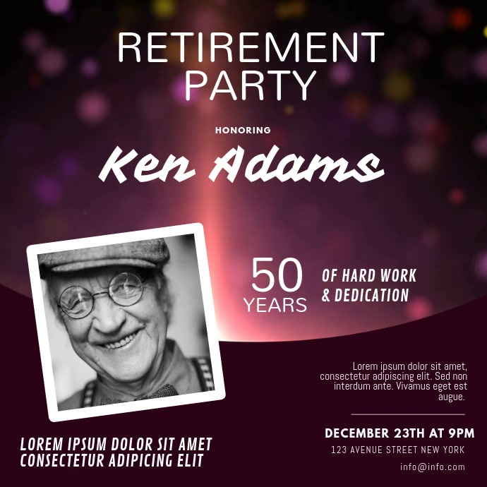 Retirement Party Instagram invitation video Quadrado (1:1) template