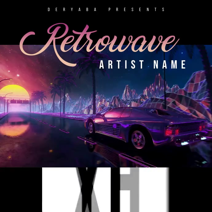 Retro 80's Sunset Car Retrowave Video Square (1:1) template