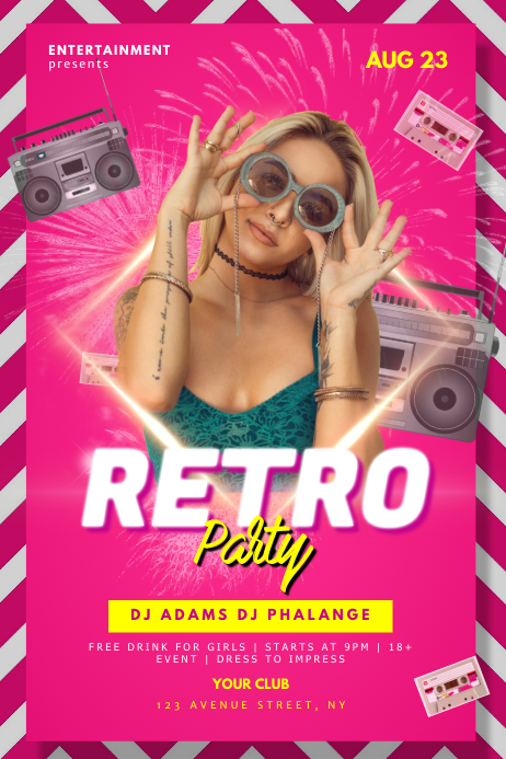 Retro 90s 80s 70s party flyer template