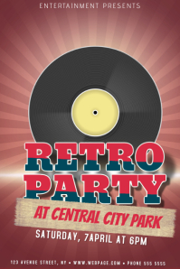retro 90s party event flyer template