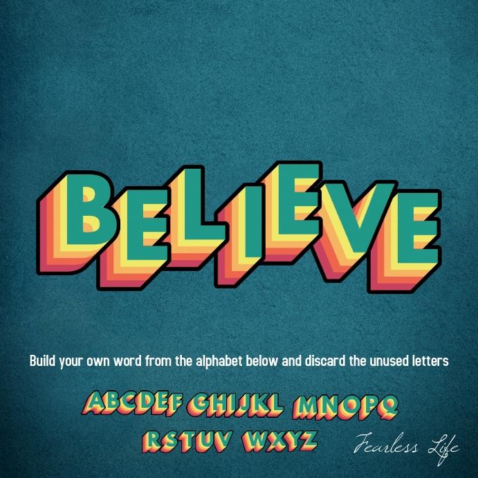 Retro Alphabet Decorative Motivation Poster template