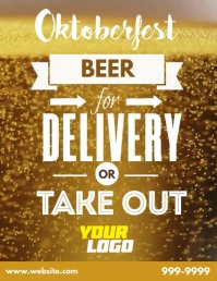 Retro beer delivery oktoberfest video flyer Pamflet (Letter AS) template
