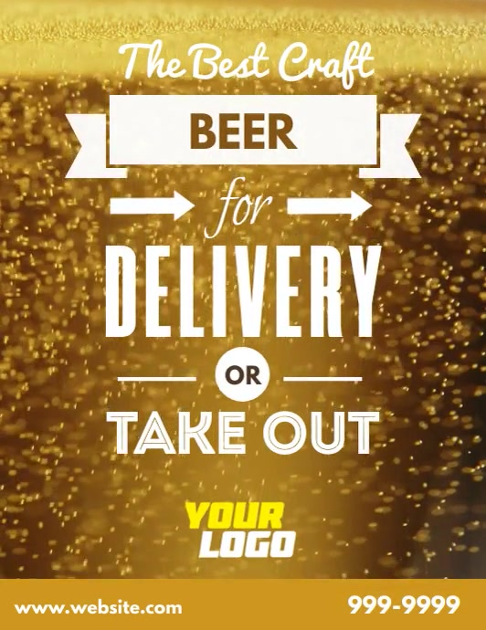 Retro beer delivery pick up take out flyer Рекламная листовка (US Letter) template