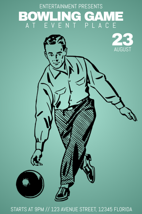 Retro Bowling Game Event Flyer Template