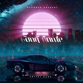 Retro Car 80's CD Cover Art Template