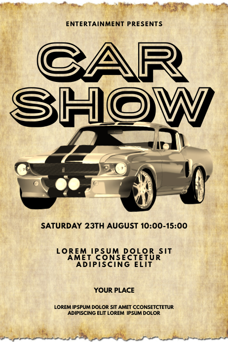 Retro Car Show Flyer Design Template Cartaz