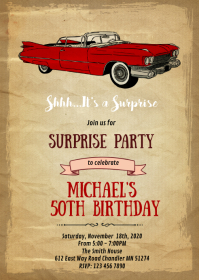Retro car theme card invitation A6 template