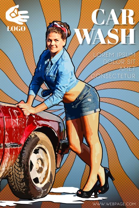Retro Car Wash flyer Template Cartaz