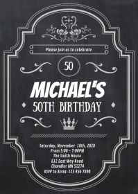 Retro chalkboard birthday party invitation A6 template