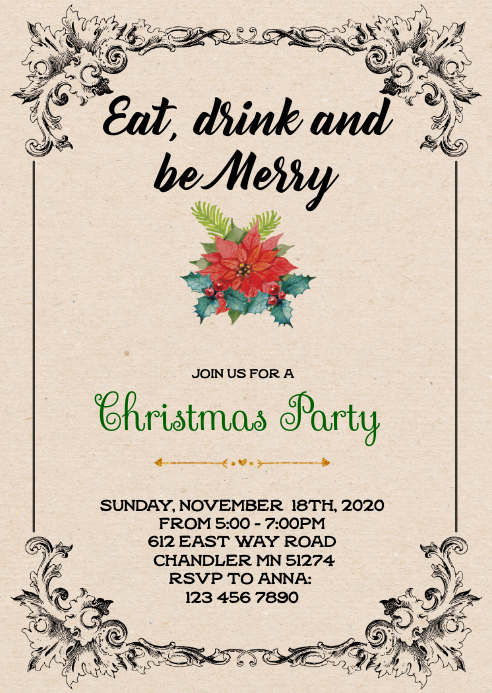 Retro Christmas Theme Party Invitation Template Postermywall
