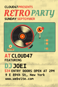 Retro Club Party Flyer Design