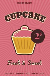Retro Cupcake poster template