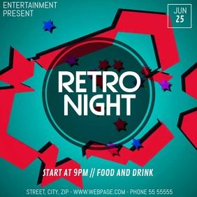 Retro Disco party video flyer template Square (1:1)