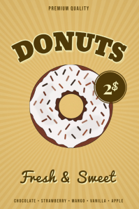 Retro Donut Sale Sign Flyer Template 海报