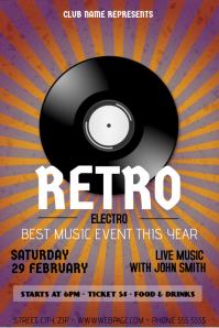 retro electro flyer template