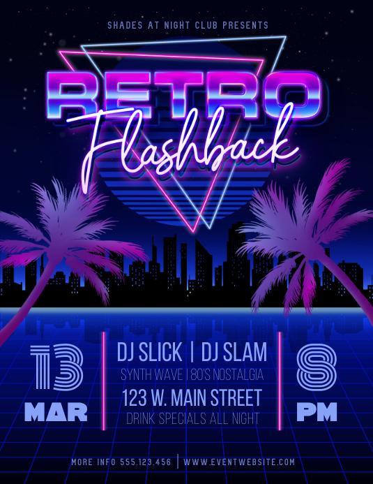 Retro Flashback 80's Night Flyer Pamflet (Letter AS) template