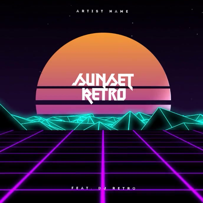 Retro futuristic 80's CD Cover Art Template Capa de álbum