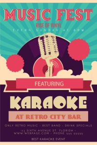 Retro Karaoke Poster Design template
