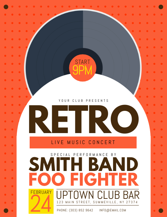retro live music concert flyer template postermywall