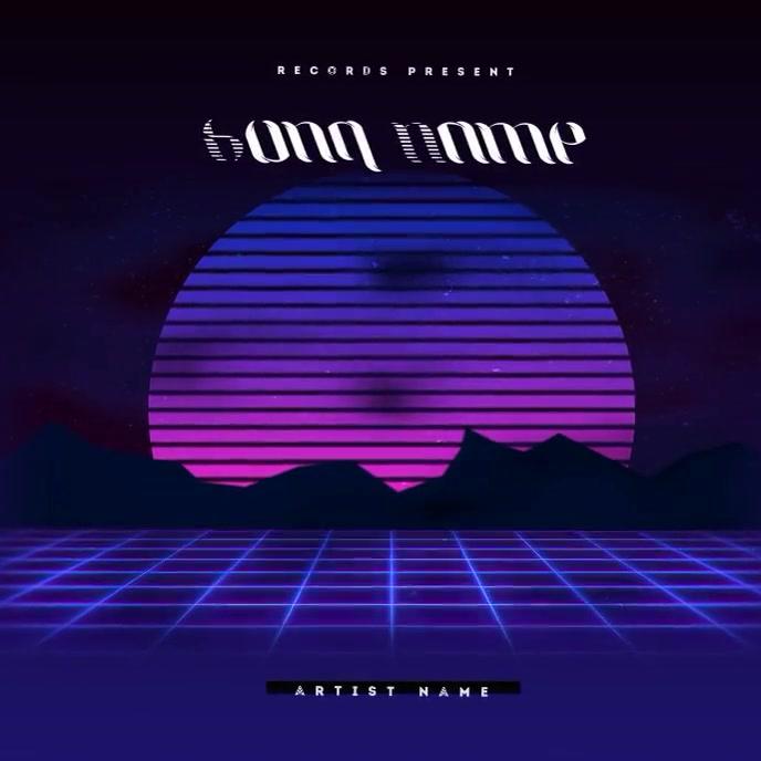 Retro Moon 90's CD Cover Art Template Albumcover