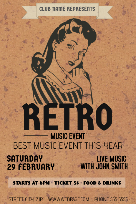 retro music event flyer brown Template