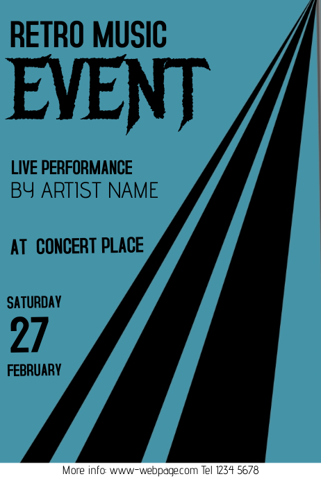 retro music event flyer Poster template