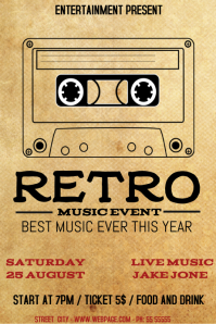 Retro music event flyer template