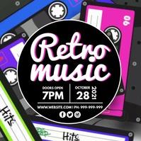 Retro Music Video Poster Publicação no Instagram template