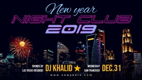 Retro New Year 2019 Party Banner