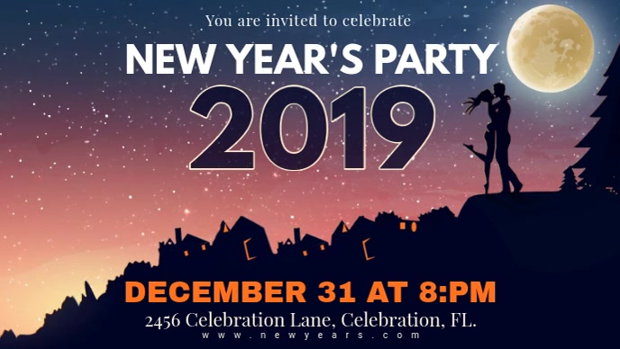 Starry Background New Year's Party Invitation Banner Facebook-covervideo (16:9) template