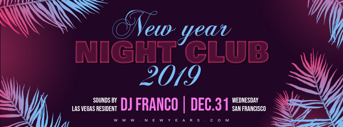 Retro New Year Nightclub Facebook Banner