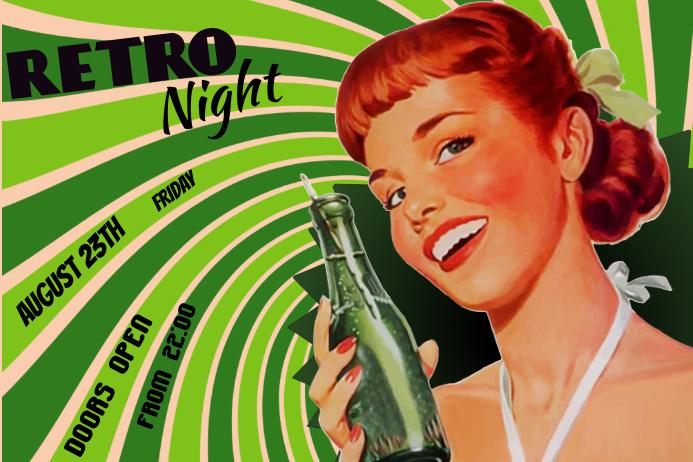 retro night event poster