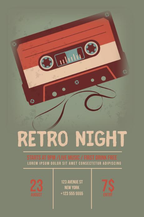 Retro Night Flyer Template Póster