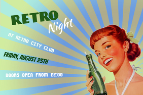 retro night poster template landscape