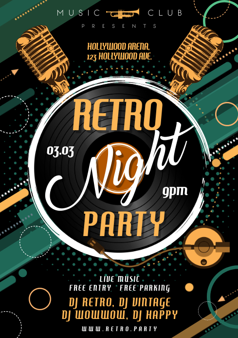 RETRO NIGHT PARTY POSTER A4 template
