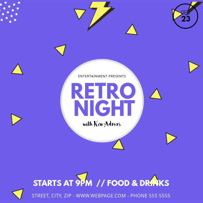 Retro Night Party Video template Instagram 帖子