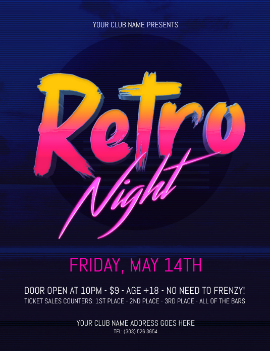 Retro Night Flyer Pamflet (VSA Brief) template