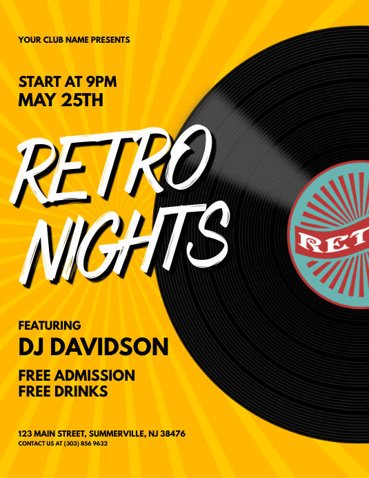 Retro Nights Flyer Volante (Carta US) template