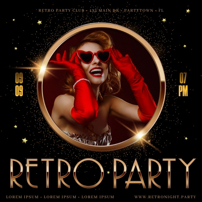 RETRO PARTY BANNER Instagram Post template