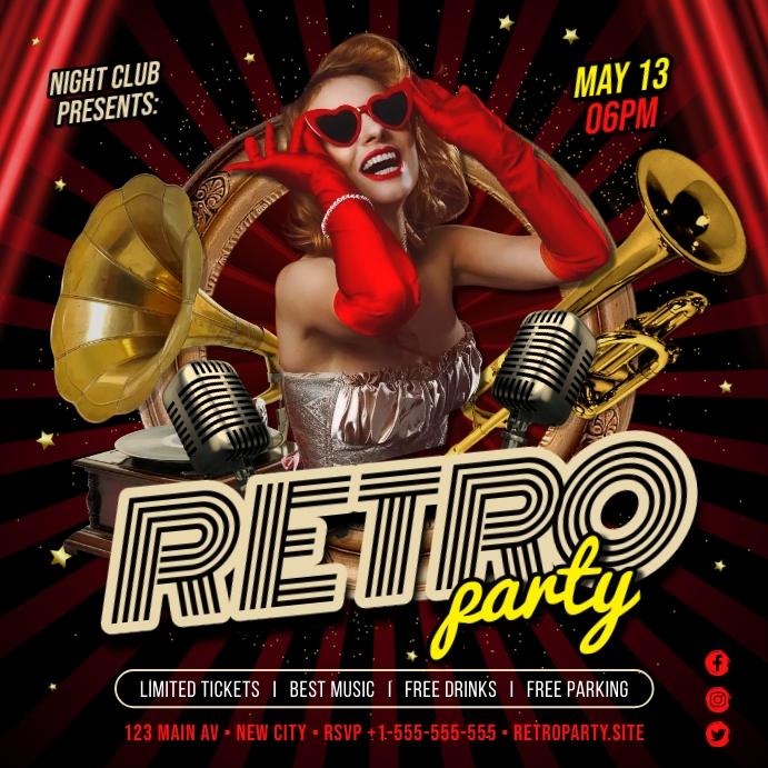 RETRO PARTY BANNER Publicación de Instagram template
