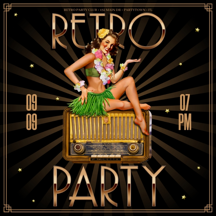 RETRO PARTY BANNER Instagram-opslag template