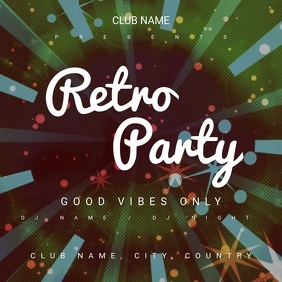 Retro Party Square (1:1) template