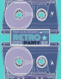 RETRO PARTY EVENT FLYER TEMPLATE DIGITAL Pamflet (VSA Brief)