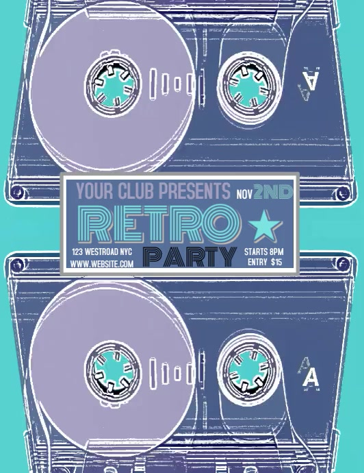 RETRO PARTY EVENT FLYER TEMPLATE DIGITAL Pamflet (Letter AS)