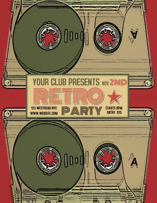 RETRO PARTY EVENT FLYER TEMPLATE DIGITAL