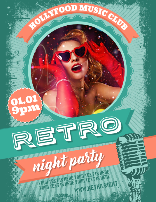 RETRO PARTY FLYER Pamflet (Letter AS) template