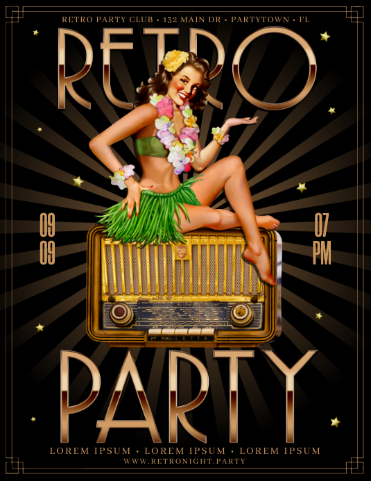 RETRO PARTY FLYER Volante (Carta US) template