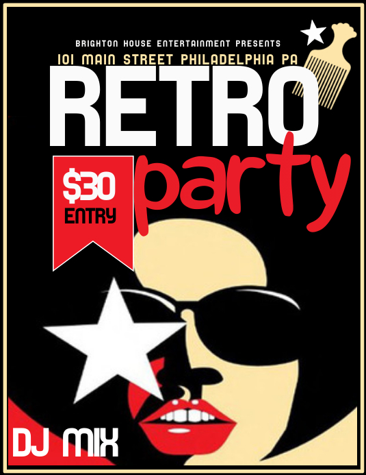 Retro Party Folder (US Letter) template