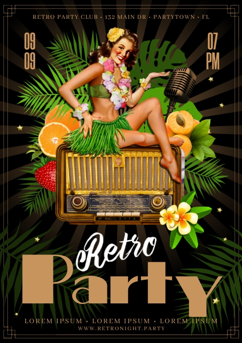 RETRO PARTY POSTER A4 template