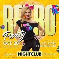 Retro Party Poster Publicação no Instagram template